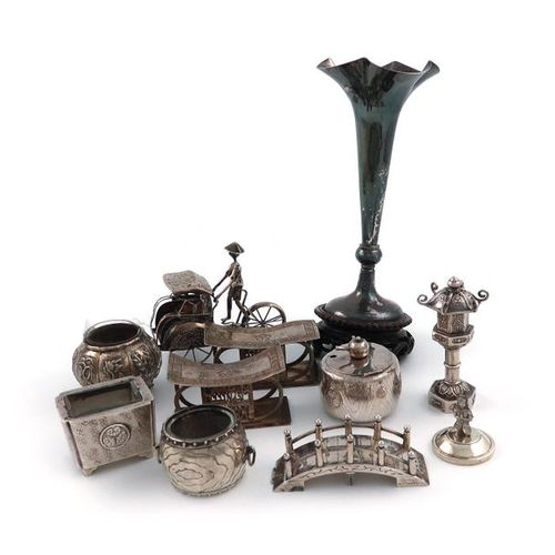 A mixed lot of Chinese silver items, comprising: a Chinaman riding a rickshaw (o…
