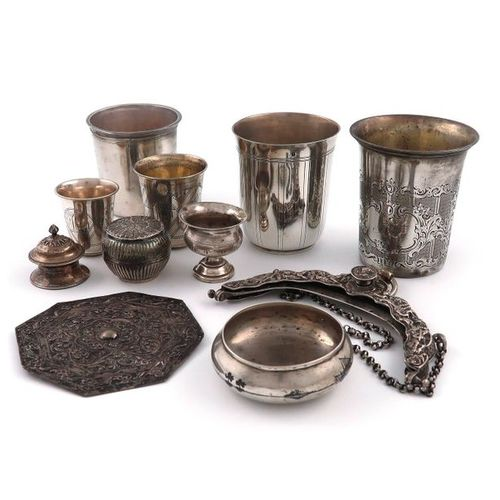 A mixed lot of foreign silver items, comprising: five assorted beakers, tapering…