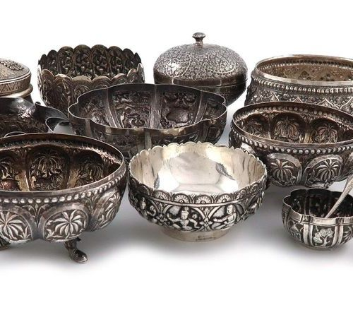 A collection of Indian and Southeast Asian silver and metalware items, comprisin…
