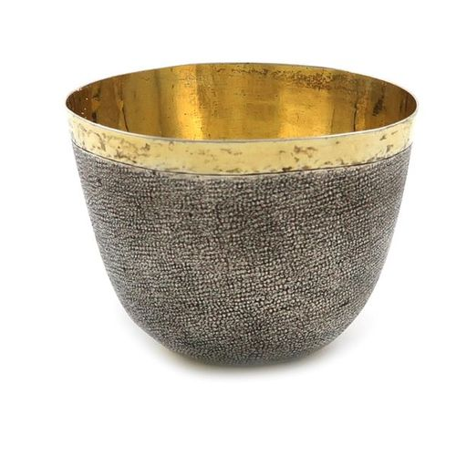 An unmarked, parcel gilt silver tumbler cup, probably 18th century and German, t…
