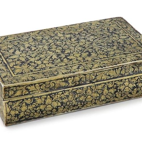 A 19th century Thai parcel gilt silver and niello work box, probably late 19th c…