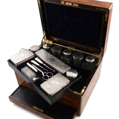 A Victorian silver mounted dressing table set, by John Harris, London 1865, reta…