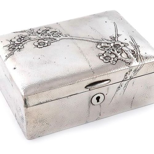 A Japanese silver jewellery box, circa 1920, maker's mark of an arrow and target…
