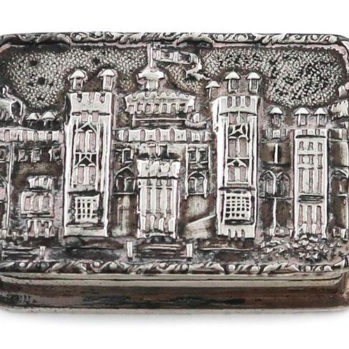 A modern silver 'castle top' snuff/pill box, by S J Rose & Son, Birmingham 1977,…