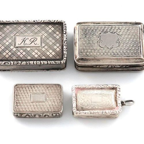 A small collection of four silver vinaigrettes, comprising: one by Francis Clark…