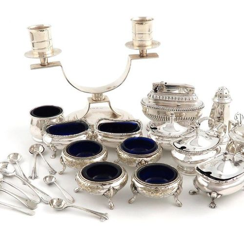 A mixed lot, comprising silver items: an Art Deco two light candelabrum, by the …