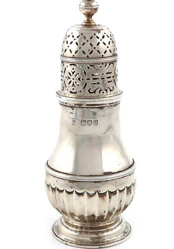 A late Victorian silver sugar caster, by Hunt and Roskell, London 1896, baluster…