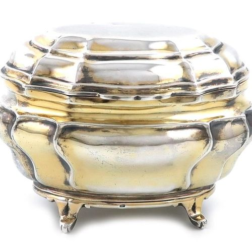 A Victorian silver gilt tea caddy / sugar box, by Charles Stuart Harris, London …