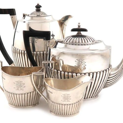 A late Victorian matched four piece silver tea set, by J and W Deakin, Sheffield…