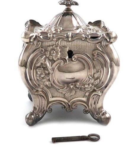 A late Victorian silver tea caddy, by Jenkins & Timm, Sheffield 1894, square bom…