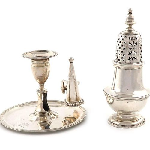 A George II silver sugar caster, by Robert Lucas, London 1734, baluster form, th…
