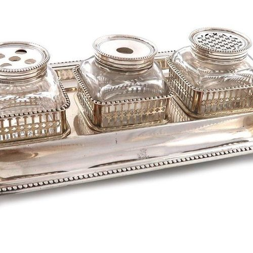 A George III silver inkstand, by Aldridge and Green, London 1774, rectangular fo…