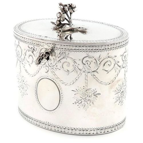 A George III silver tea caddy, by Aaron Lestourgeon, London 1772, oval form, eng…
