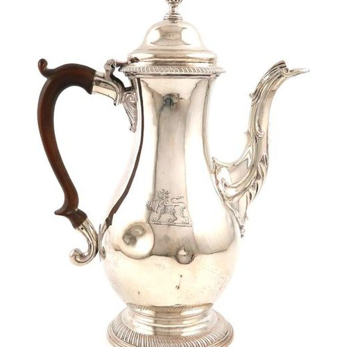 A George III silver coffee pot, by Walter Brind, London 1774, baluster form, scr…