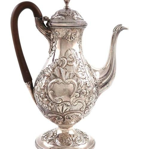 A George III silver coffee pot, main marks lost in decoration, the cover with ma…