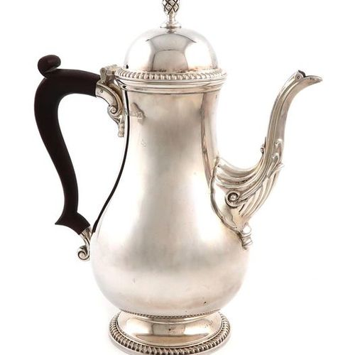A modern silver coffee pot, by Barker Ellis Silver Co., Birmingham 1965, baluste…