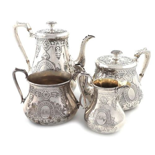 ?A four piece Victorian silver tea and coffee set, by Daniel & Charles Houle, Lo…