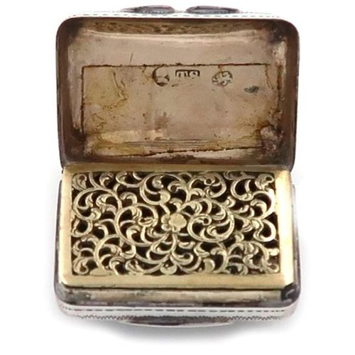 A George IV silver vinaigrette, by Thomas Shaw, Birmingham 1826, rectangular for…