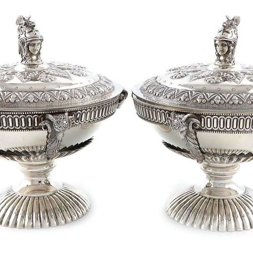 A pair of Victorian silver tureens and covers, possibly for caviar, by Richard H…