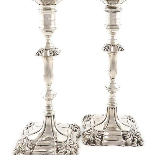 A pair of silver candlesticks, by Thomas A. Scott, Sheffield 1905, in the mid 18…