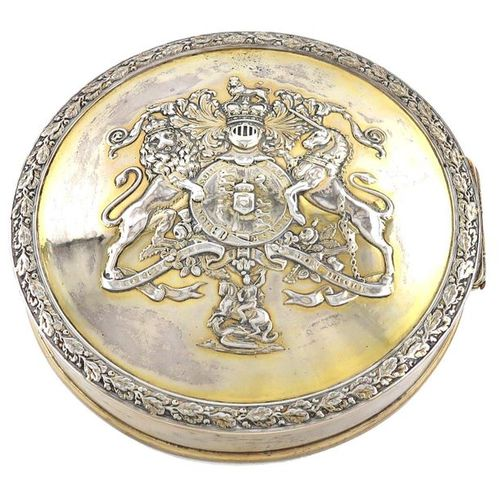 A George III silver gilt seal box, by Philip Rundell, London 1819, circular form…