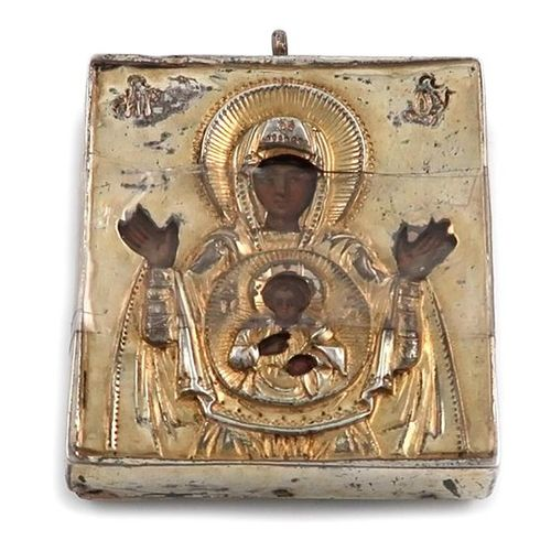 A small 19th century silver gilt covered icon, unmarked probably Russian, also w…