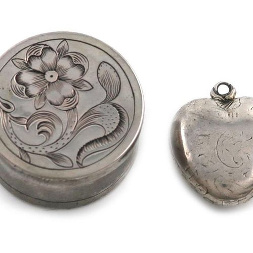 A silver heart shaped locket, unmarked, probably 18th century, with worn engrave…