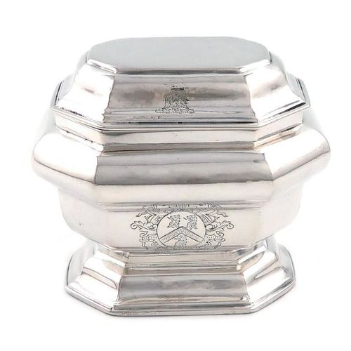 A George I silver sugar box, by Matthew Cooper, overstriking other marks, London…