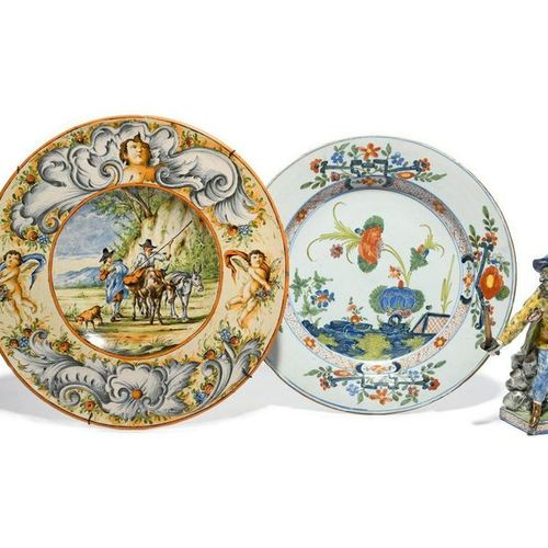 An Italian Faenza faïence plate c.1780, Ferniani workshop, painted in famille ve…