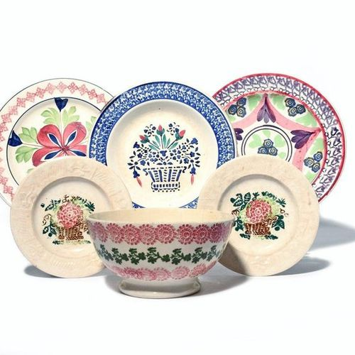 Five spongeware plates and a bowl 19th century, including a small pair of plates…