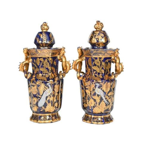 A pair of C J Mason's Ironstone vases and covers c.1820 30, finely decorated wit…
