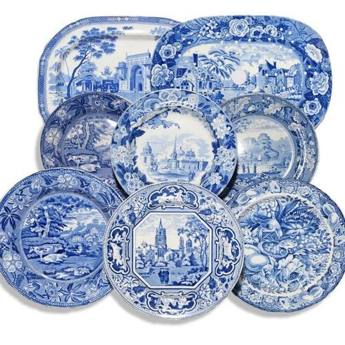 Six blue and white transferware plates 19th century, including Don Pottery with …