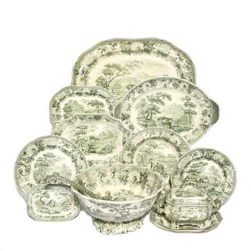 A Copeland and Garrett part dinner service c.1840, printed in green with various…