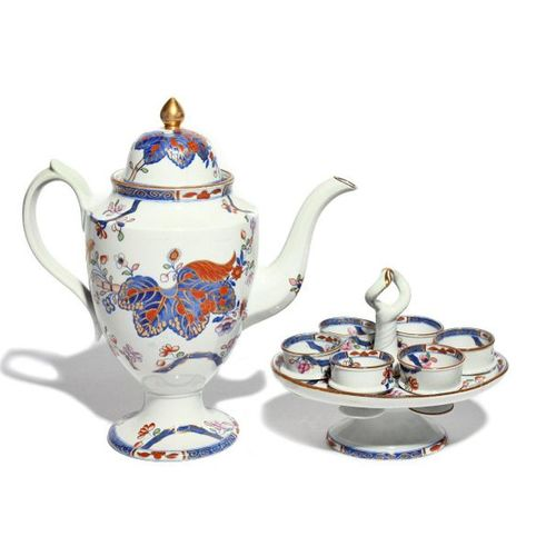 A Spode Stone China coffee pot and cover and an egg cruet 19th century, decorate…