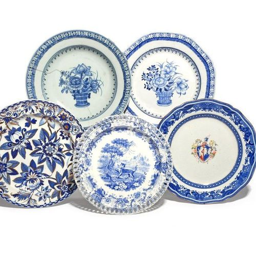 Two Spode stone china plates 2nd half 19th century, one armorial within a printe…
