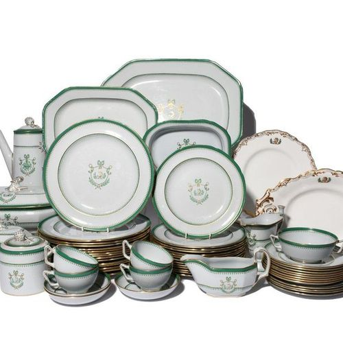 An extensive Copeland Spode Fine Stone china armorial dinner and tea service 1st…