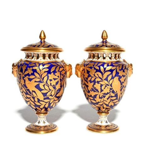 A pair of Spode Copeland's China pot pourri vases and covers early 20th century,…