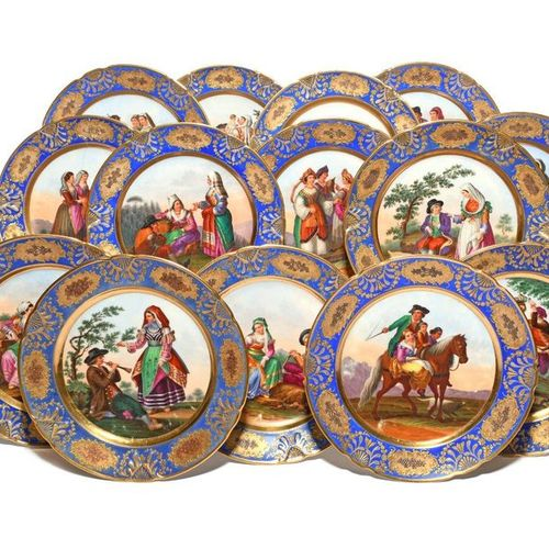Fourteen Continental porcelain plates c.1830, decorated by Giovine of Naples wit…