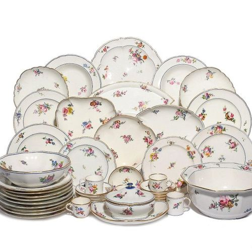 An extensive combined Sèvres part dinner service 2nd half 18th century, soft and…