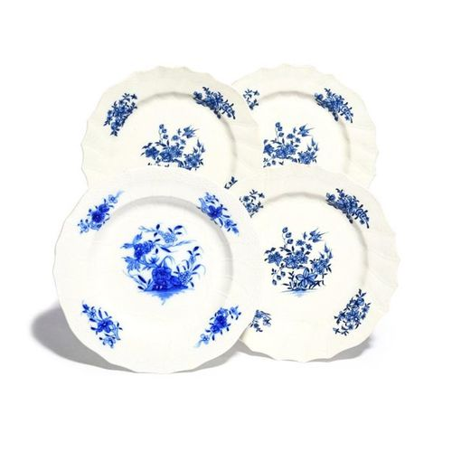 Four Tournai plates c.1775 90, three decorated in blue with a bird in flight abo…