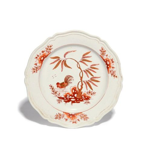 An unusual English porcelain plate late 18th/early 19th century, painted in red …