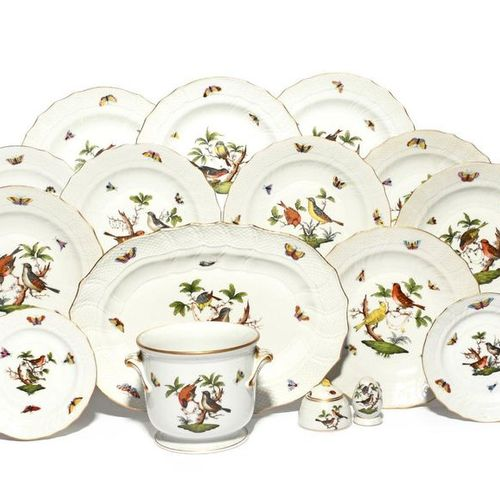 A Herend part dinner service modern, decorated in the Rothschild Birds pattern w…