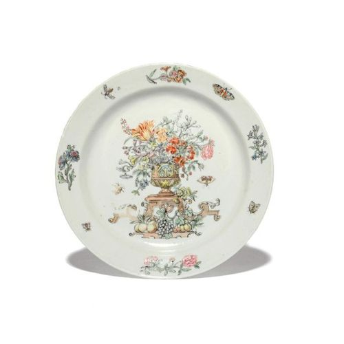 An unusual European decorated Chinese porcelain plate mid 18th century, finely p…