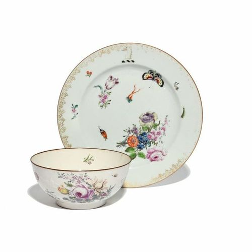 An English decorated Chinese porcelain plate mid 18th century, painted in the Gi…