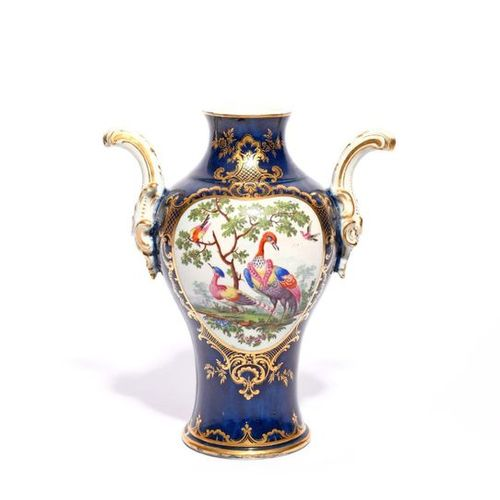 A large Worcester vase c.1768 70, of rococo form, painted with large heart shape…
