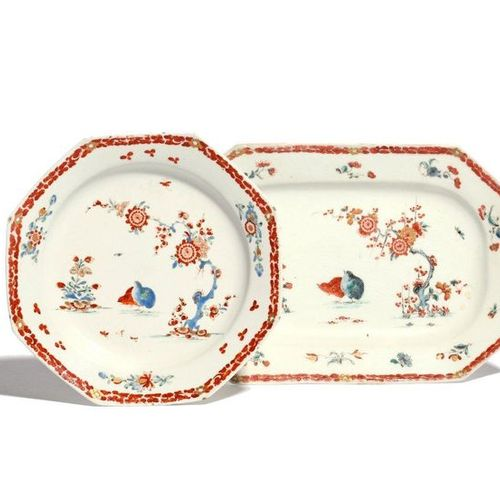 A Bow octagonal meat dish and a plate c.1755, painted in the Kakiemon palette wi…