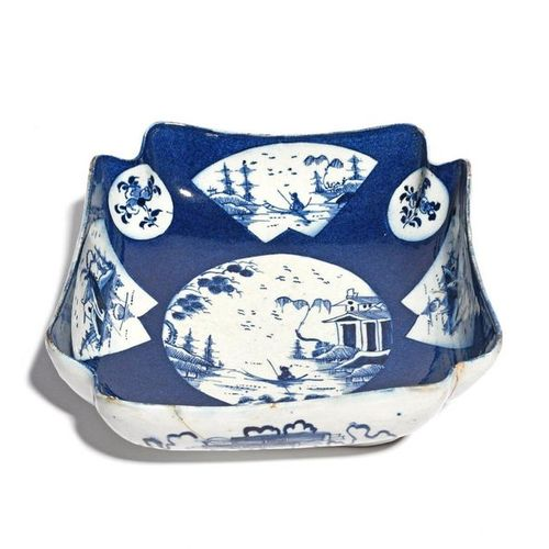A Bow blue and white salad bowl c.1765, the deep square form with indented corne…