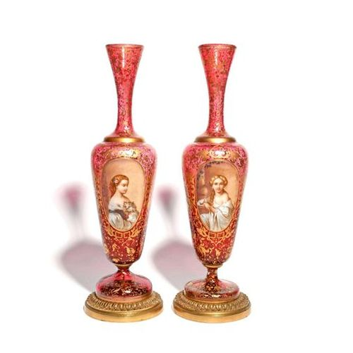 A tall pair of Bohemian glass vases late 19th century, each painted with the por…