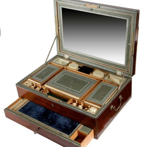 ? AN ANGLO INDIAN ROSEWOOD AND SADELI WORKBOX PROBABLY BOMBAY, EARLY 19TH CENTUR…