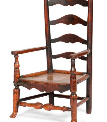 A LANCASHIRE ASH LADDERBACK CHILD'S ARMCHAIR LATE 18TH / EARLY 19TH CENTURY Prov…